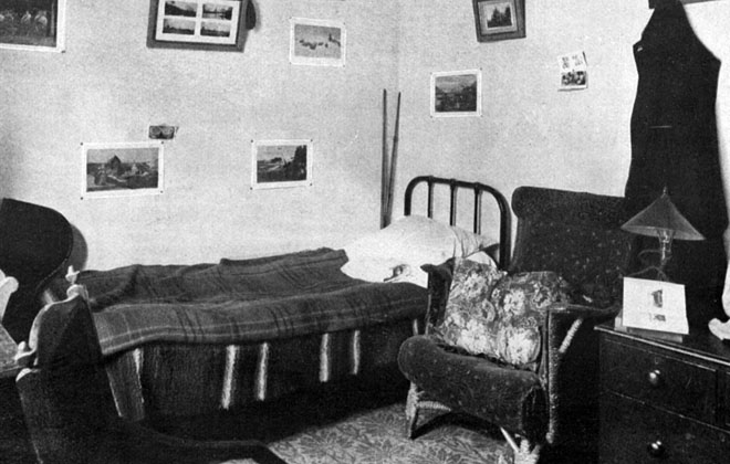 A typical student bedroom c. 1908
