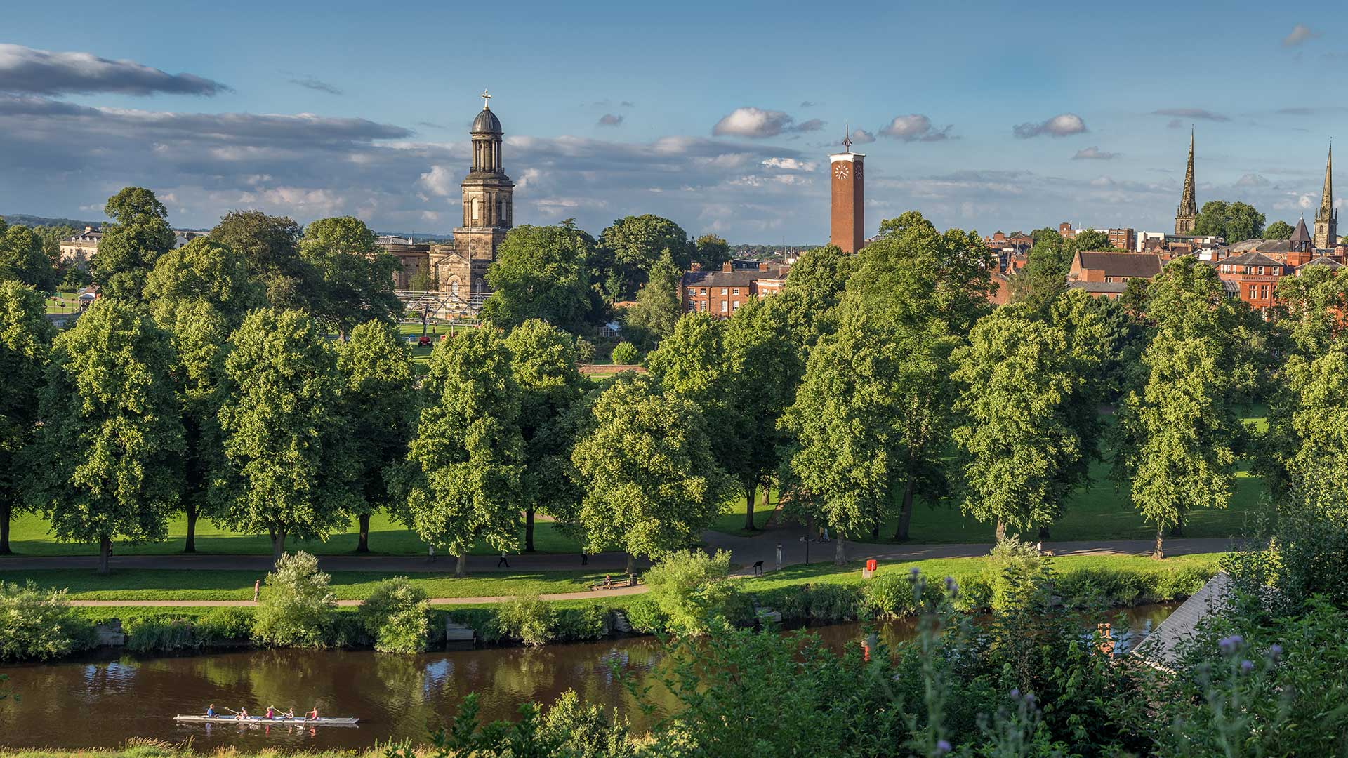 View across the river Severn towards Shrewsbury town centre