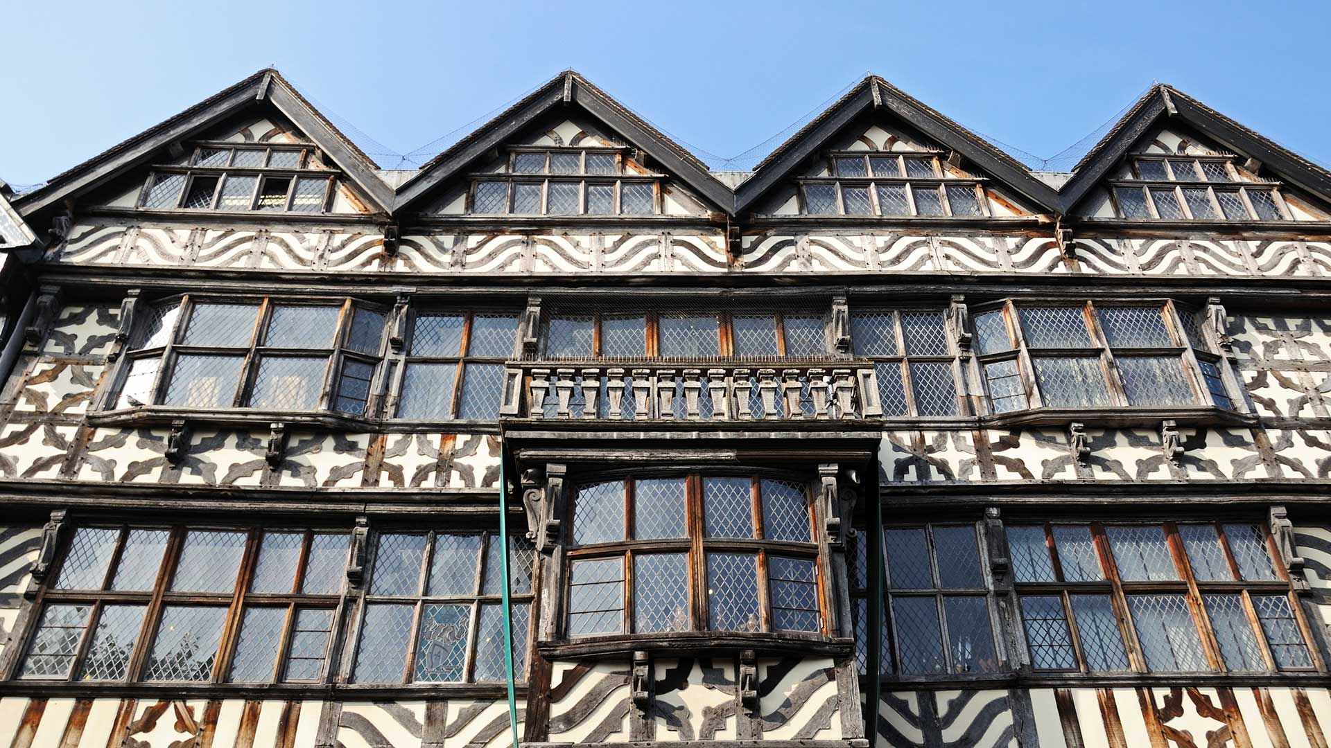 Historic wood framed building in Stafford