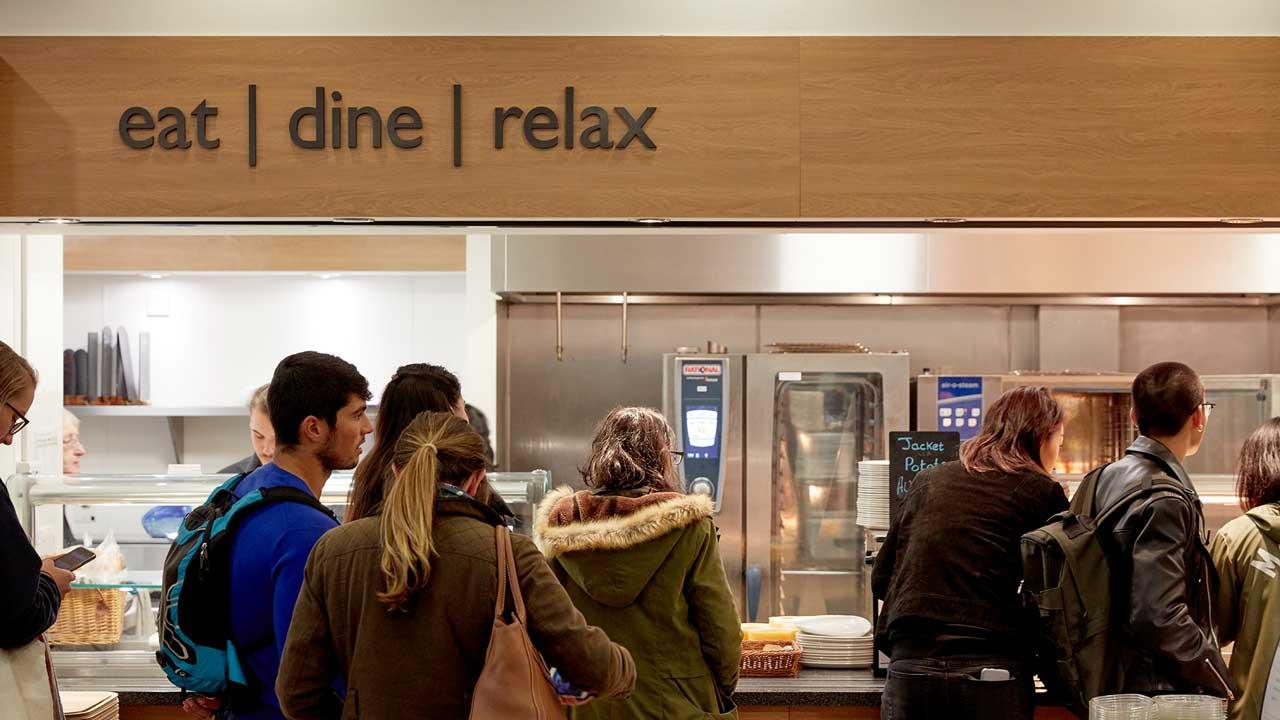 Students queue in Graze Cafe