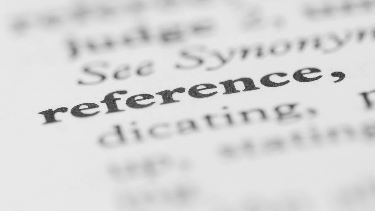 The word Reference in a dictionary