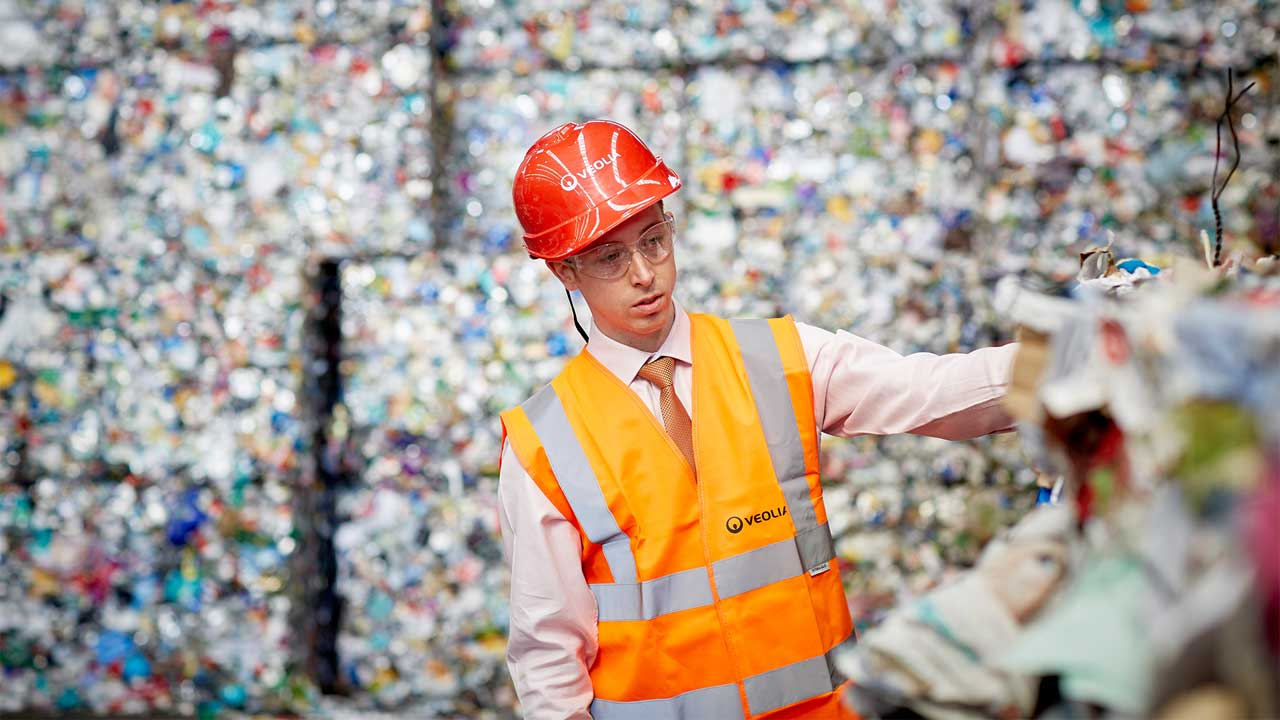 Working at a recycling plant
